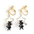 日本gargle 小貓咪的星星鞦韆耳環 (黑貓款) (耳針款) (耳夾款)