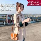加大碼外套-早秋氣質韓版休閒西裝外套【XMS45359】 袖口撞色設計,早秋新品氣質保暖