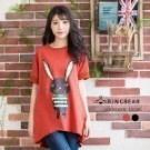 ■時尚兔子印花造型 ■寬鬆版型不挑人 ■前短後長設計 ■舒適純棉混紡 ■羅紋袖口設計