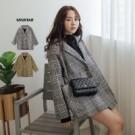 1110 經典款!千鳥格圖紋毛呢大衣,大大口袋好方便,超保暖毛呢材質!