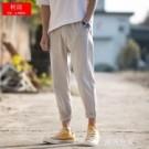 九分褲男寬鬆日系亞麻休閒褲男士夏季哈倫小腳褲男褲韓版潮流褲子