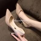 單鞋新款新娘伴娘鞋子百搭亮片尖頭香檳色性感細跟高跟鞋