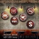 ●美式復古工業風 ●廣告標示牌造型壁燈 多款可選 ●LED無電線插頭設計 可隨意擺放 ●牆面裝飾擺飾