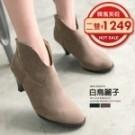 TC1690 迷人V形高跟短靴  顏色:黑/棕 尺寸:35-39