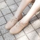 質感百搭牛津鞋款 氣質滿分輕巧微跟 柔軟好穿乳膠軟墊 白色牛津鞋改版成米黃色鞋底