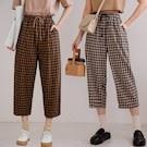 0511 格紋褲超百搭,配上抽繩完全不限身型喔!