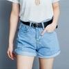 夏 0707【10737】高質感的牛仔面料短褲繫上皮帶更顯率性