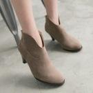 TC1690迷人V形高跟短靴 顏色:黑/棕尺寸:35-39