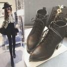 WB4908888顏色:黑/尺寸:35-39綁帶顯瘦高跟短靴