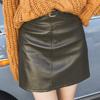 冬 1124【11649】高腰A字顯瘦皮裙短裙-附皮帶