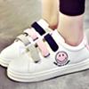 可愛笑臉圖案魔鬼氈休閒鞋【XF0032529】※此款版型偏小一碼舒適好穿搭繽紛撞色款