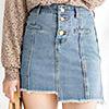 不修邊的單寧短裙夏天的熱門首選硬挺感超有超好看