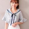 0523 韓國水手領造型,滾邊織帶綁結,衣櫃必備條紋單品。