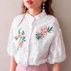 0523 立領花刺繡,包布排釦小巧別緻,整體營造復古女伶氛圍。