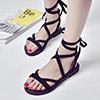 波西米亞羅馬綁帶涼鞋女夏平底羅馬海灘鞋