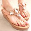 韓國時尚寶石水鑽楔型夾腳涼鞋【XW0699】華麗耀眼鑽飾修飾楔型款式