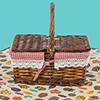 野餐套裝組手提藤編野餐籃 (方型掀蓋) 1717028+1717025野餐墊