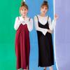 ◆ 洋裝不收邊的剪裁搭配內搭的微喇叭袖上衣,可加髮帶營造整體感。