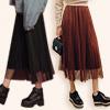 冬 1116【13785】氣質爆發款傘擺百摺雙層網紗裙 百摺設計超顯瘦 鬆緊腰設計舒適好穿