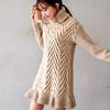 1129 立體鋸齒編織,高領設計不論摺或不摺,都能展現時尚女孩的氣質優美!