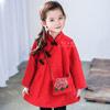 材質:棉混紡,厚度:加厚。女孩新年必備大紅色中國風洋裝。