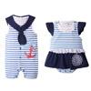 尺碼:70~90cm顏色:藍色小男寶是無袖式,清涼可愛白底藍條紋,豔夏的清新色彩