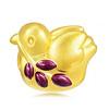 鴿子象徵和平與和睦,黃金串珠飽滿立體,以紫色透明彩繪顏料作小點綴,增添豐富色彩。