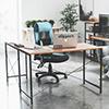 工業風 桌子L型設計讓工作空間更可以充分利用搭配滾輪電腦椅移動更便利二邊方向都可以組裝