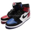 555088026 AJ1 附三色鞋帶 皮革表面 陰陽鞋 拼接 不對稱 黑紅 黑藍 閃電 限量款