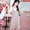 ◆ 兩件式穿搭可分開搭配,合身圓領T恤與百搭肩帶魚尾裙-韓系休閒實穿搭配,恬適自在的時髦甜心。