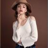 ◆ 歐美微性感露肩剪裁,大V領設計,合身親膚針織材質,秋冬熱賣性感系列。