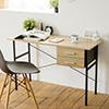工業風 桌子★噴砂處理增添自然的洗鍊★X桿防止搖晃★板貼PVC3D木紋皮