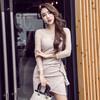 VK精品服飾 韓國名媛夜店氣質網紗拼接包臀長袖洋裝