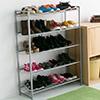 ★鐵灰色基本色系不易弄髒★烤漆特色─抗腐蝕、防水、易清理★五層式的大空間可以收納多款鞋子