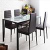 營造小都會居家空間鋼化玻璃結合石面質感一桌四椅組合