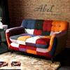 ●異國拼布感獨立筒雙人沙發●繽紛色系好感度UP●圓潤造型搭配任何居家質感UP