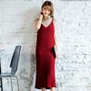 ◆ 長版細肩帶的針織洋裝,視覺上使整體感延伸,需搭配內件。