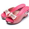 寶石水鑽花飾點綴鞋面花卉包台楔型拖鞋加厚舒適中底墊久走也不累