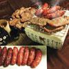 組合內容:五香烤肉片300g+黑胡椒烤肉片300g+原味香腸300g+蒜味香腸300g(含運費)