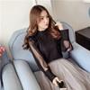 VK精品服飾 韓國風名媛氣質立領透視燈籠袖雪紡衫長袖上衣