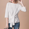 秋 0914【13382】素面舒適的棉質 造型的綁結 俏皮可愛 看起來更腰瘦!