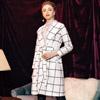 ◆ 溫熱系列,英倫格紋大衣,柔軟羊毛不刺肌膚,顯瘦版型,附綁帶。
