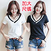 V領線條短袖T恤-T1