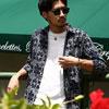 採用純棉透性佳粗線巴拿馬織純棉襯衫七分袖白迷彩襯衫春夏新登場