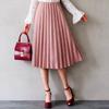 1206 鬆緊裙頭穿脫更方便,質感的毛呢材質,結合百摺設計,看起來溫暖又有型!