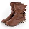 WA8809皺摺感百搭款中筒靴尺寸:35-40 顏色:黑色/棕色