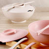 小麥環保 多功能泡麵碗餐具四件組洞口設計可以瀝乾水,製作成乾麵,非常方便!!