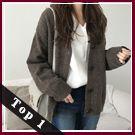 梨卡★現貨 - 秋冬氣質甜美純色寬鬆單排釦條紋保暖毛衣針織外