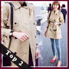 免運★梨卡 - 韓國甜美超高品質中長版卡其色顯瘦西裝外套風衣