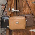 復古皮革隨性善變方塊多層雙面斜背包